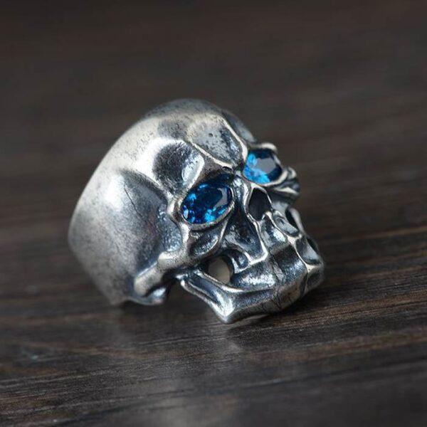 Silver Blue Eyes Skull Ring