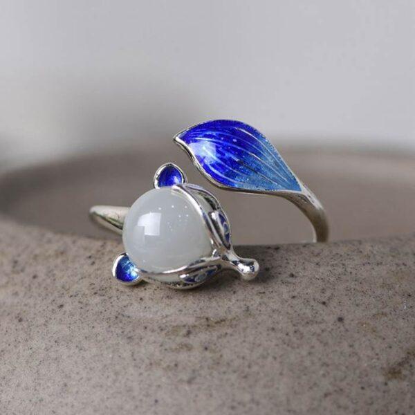 Silver Ename Fox Ring