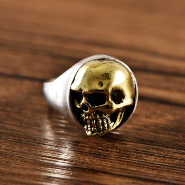 Silver Golden Smiling Skull Ring