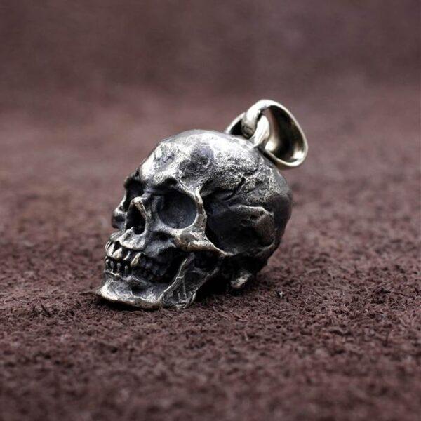 Silver Gothic Skull Pendant