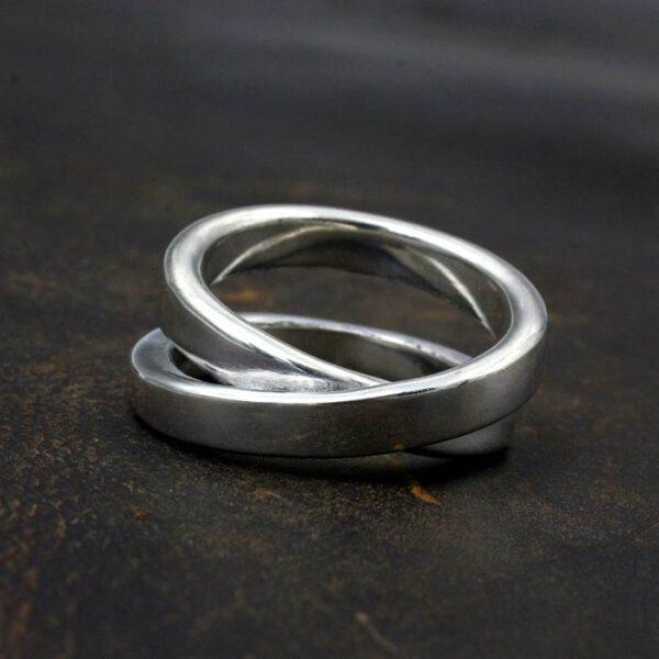 Silver Infinity Full Twist Ring