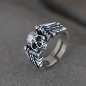 Skull Ring With Wings