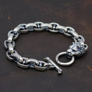 Sterling Silver Lion Head Bracelect