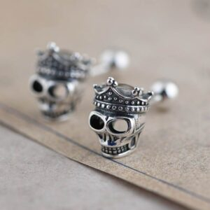 Crown Skull Stud Earrings