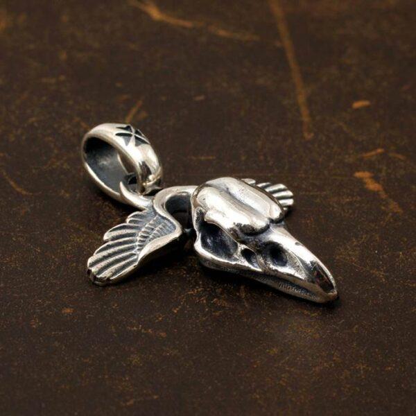 Raven Skull Wing Pendant