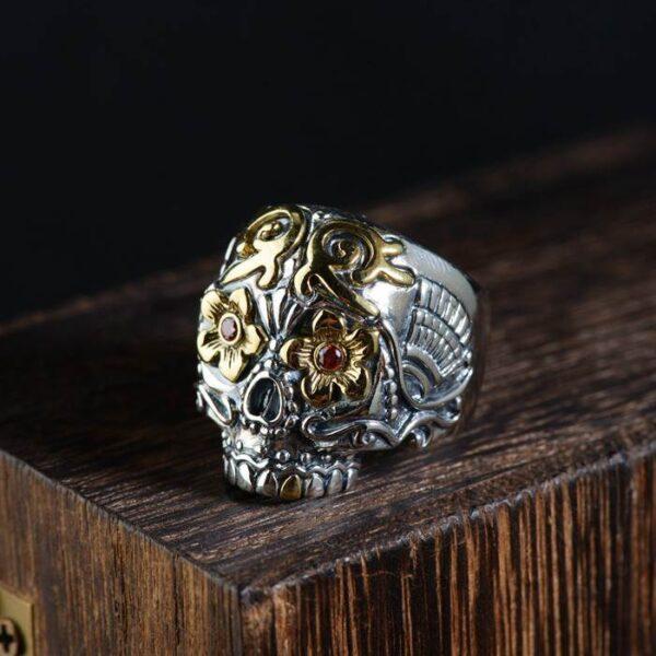 Silver Flower Eyes Skull Ring