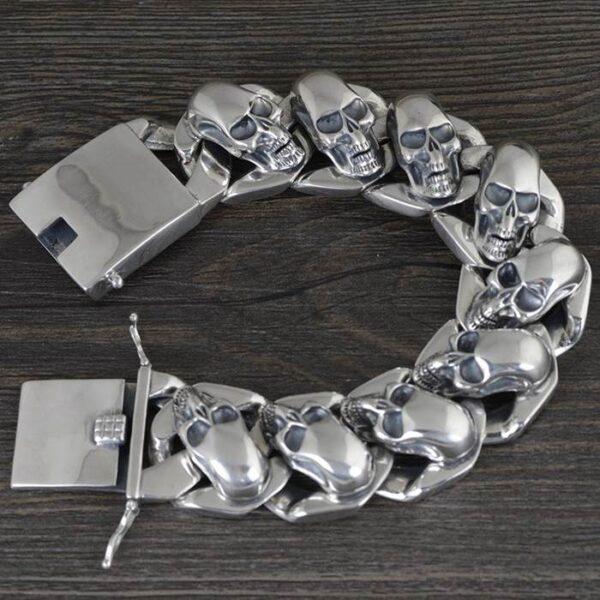 Silver Multi Skull Bracelet