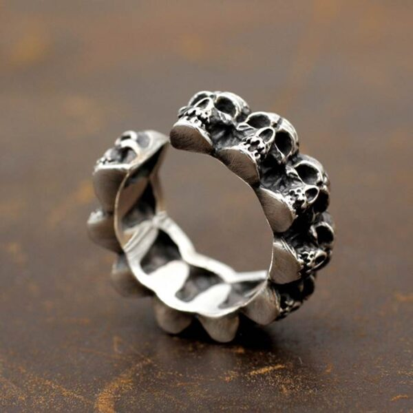 Silver Multi Skull Ring