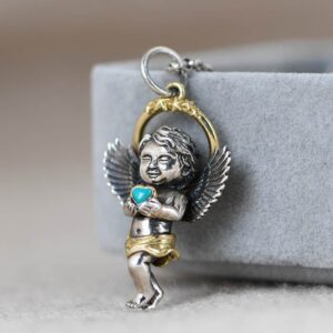Baby Angel Turquoise Cupid Pendant Necklace