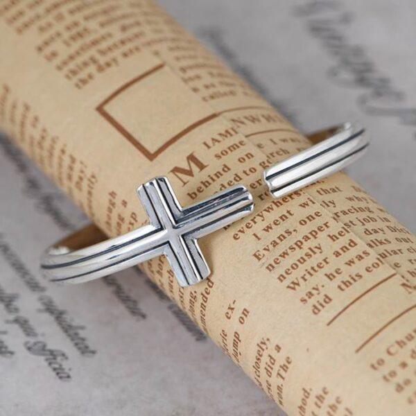 Sideways Cross Cuff Bracelet