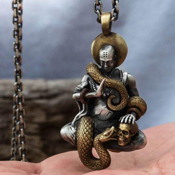 Buddha Snake Skull Pendant Necklace