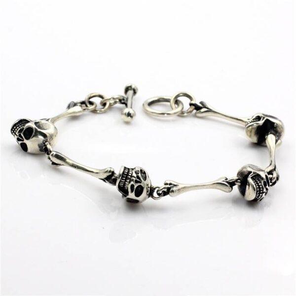 Silver Bones Skull Bracelet