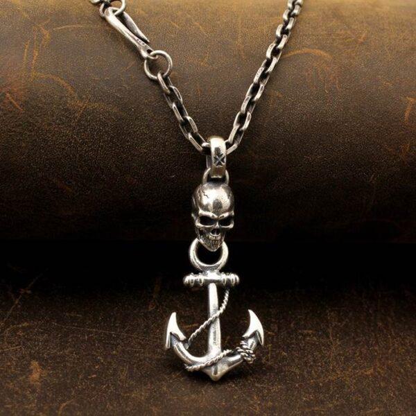 Skull Anchor Pendant Necklace