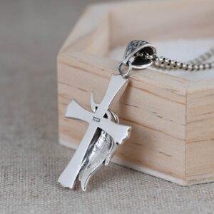 Feather Cross Pendant Necklace