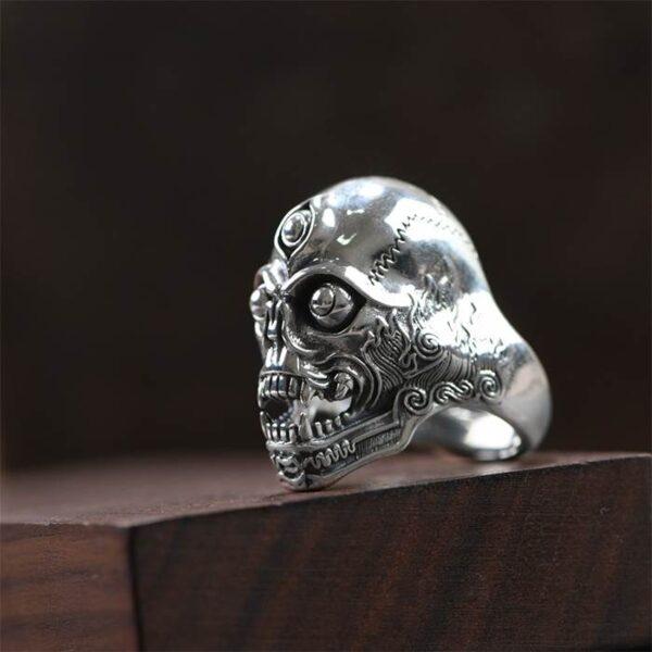 Silver Third Eye Skull Ring