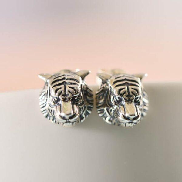 Silver Tiger Earrings Studs