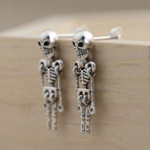 Silver Skeleton Drop Earrings