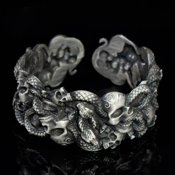 Silver Skulls Snake Cuff Bracelet