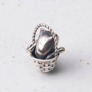 Silver Cat Basket Pendant Necklace