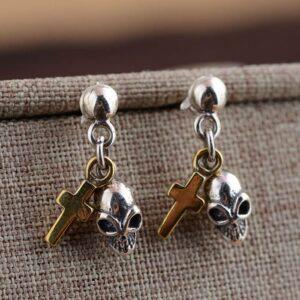 Silver Skull Cross Dangle Earrings