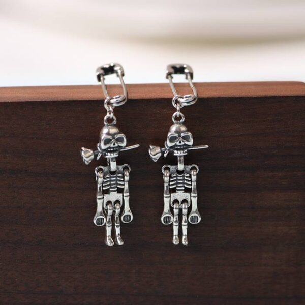 Safety Pin Skeleton Earrings